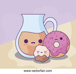 cute teapot with delicious food kawaii style