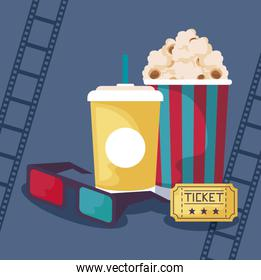 popcorn with eyeglasses and drink