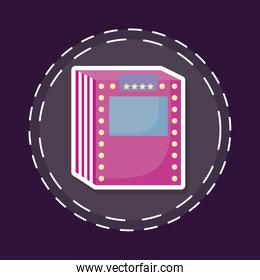 patch of cinema label with lights isolated icon