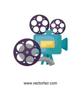 cinema video camera with tape reel