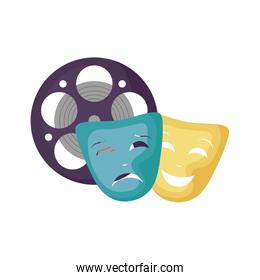 cinema reel tape with theater masks