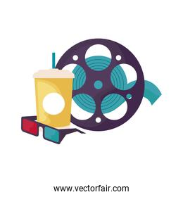 cinema reel tape with glasses 3d and drink