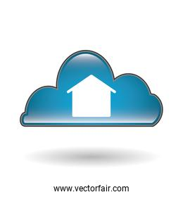 Social media with cloud design, vector illustration