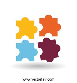 puzzle pieces of colors, isolated icon