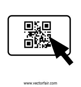 qr code and arrow pointer icon image