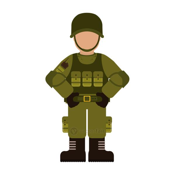 Military with its different protection tools icon image