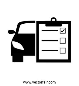 Black car with a notebook icon design