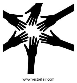 black hands of women together icon image