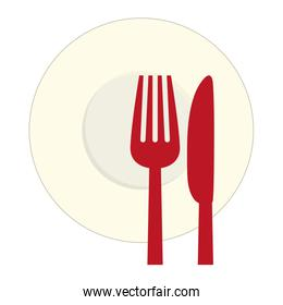 Red knife, fork and plate icon