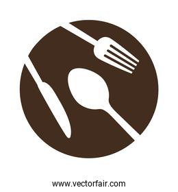 brown plate with cutlery icon image