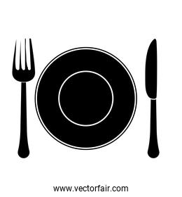 contour fork, knife and plate icon image
