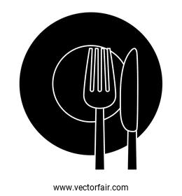 contour knife, fork and plate icon