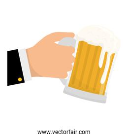 glass of beer in the hand icon design
