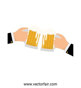 glasses of beers in the hands icon design