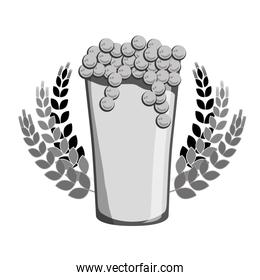 grayscale beer glass with branches wheat icon image