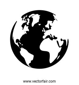 black and white planet earth icon image