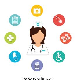 nurse with diagnostic products icon image