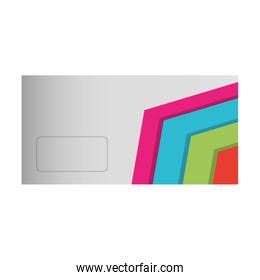 envelope with lines colored vector illustration
