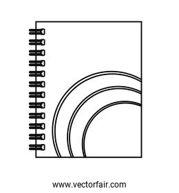 notebook with circular  lines vector illustration