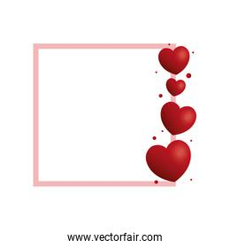Hearts and love frame
