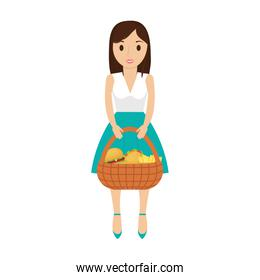woman with picnic basket  vector illustration
