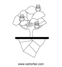 Tree and owls design
