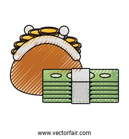 coin purse with money   vector illustration