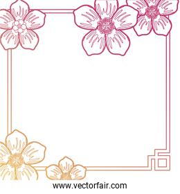 square frame with flowers  design