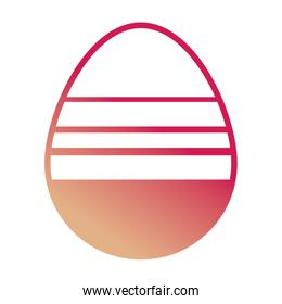 easter egg with horizontal lines design