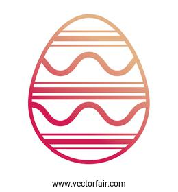 easter egg with    curved lines  and  horizontal line design