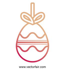 easter egg pendant  with    curved lines  and  horizontal lines