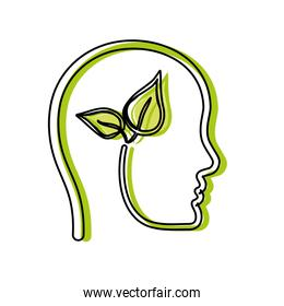 head with leaves icon