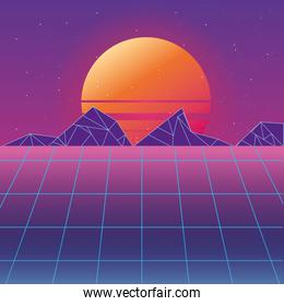 Retro background futuristic landscape design