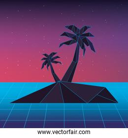 retrowave design of island with palms