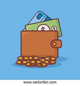 Wallet with money design
