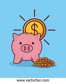Piggy saving and money related icons
