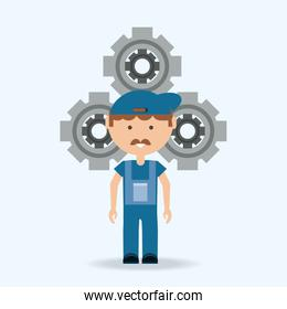 Car service design with mechanic man and gear
