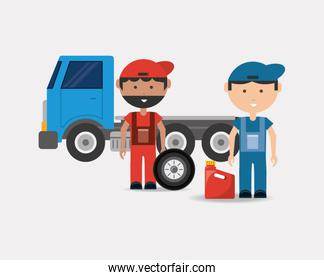 Car service design with tow truck and mechanics men