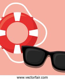 pool float and sunglasses icon