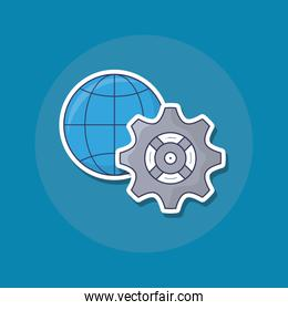 global sphere and gear icon