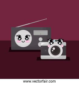 kawaii camera and radio