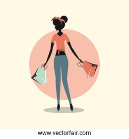 woman with  shopping paper handbags retro style