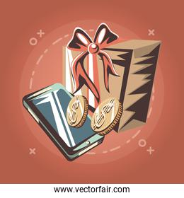 cellphone gift and coins dollar retro shopping style