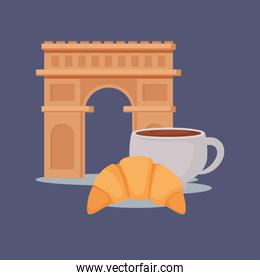 france culture card with arch of triumph