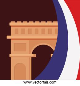france culture card with flag and triumph arch