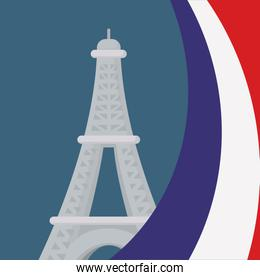 france culture card with flag and eiffel tower