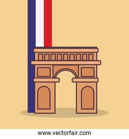 france culture card with arch of triumph and flag