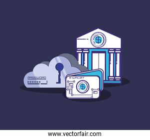 financial technology set icons vector ilustration