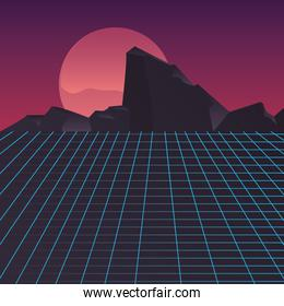 retro future label with mountains scene