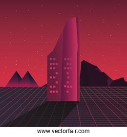 retro future label with buildings scene